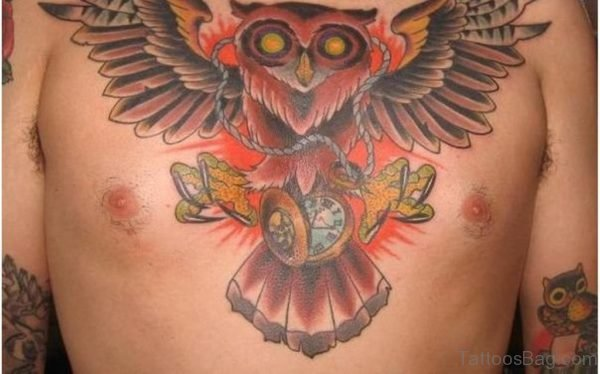 Owl With Watch Tattoo On Chest