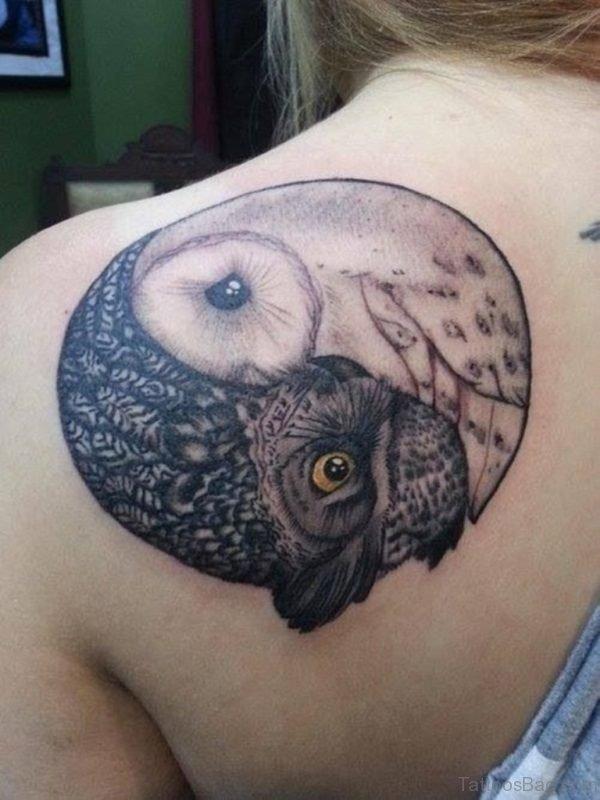 Owl Yin Yang Shoulder Tattoo Design