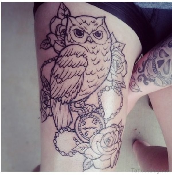 Owl and Flower with Watch and Chain Thigh Tattoo