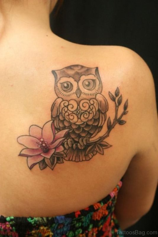 Owl with Flower On  Branch Back Tattoo