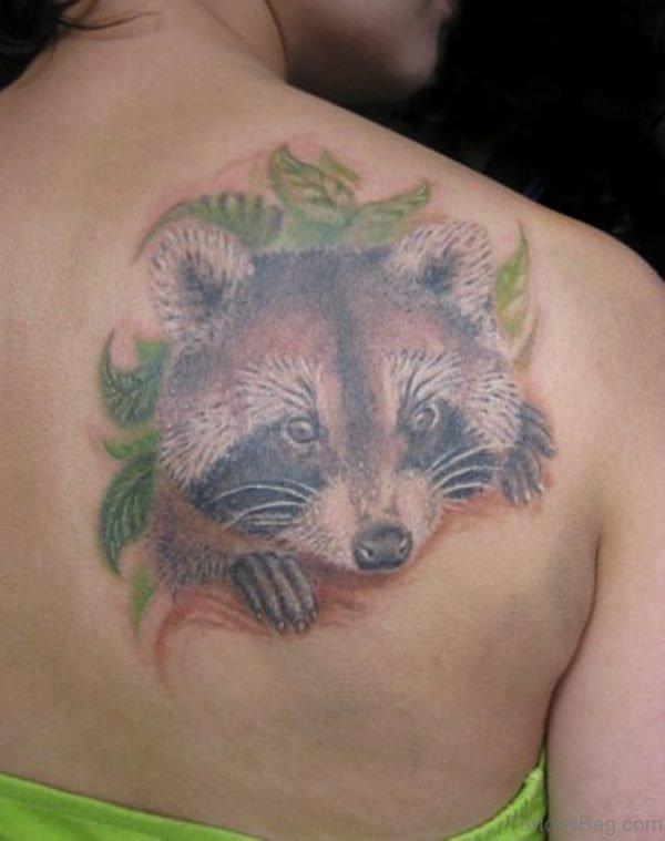 Panda Face Tattoo On Back