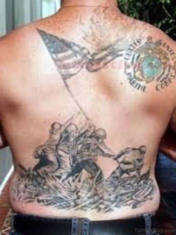 Patriotic Tattoo Design On Whole Back