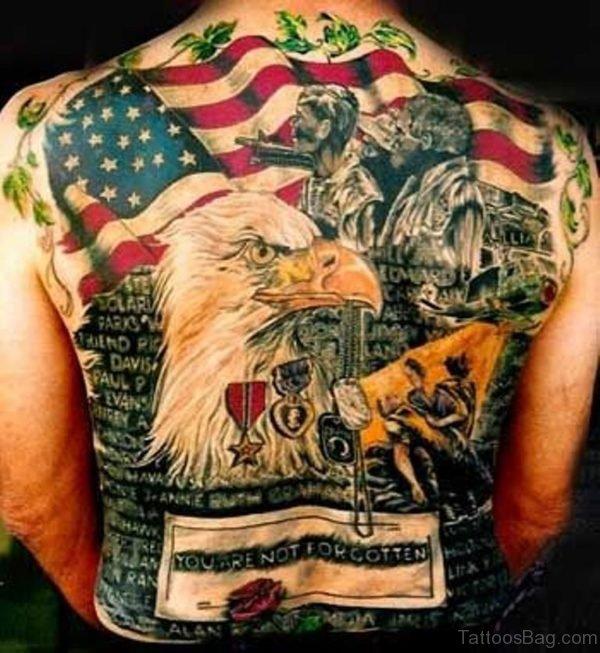 Patriotic Tattoo On Full Back