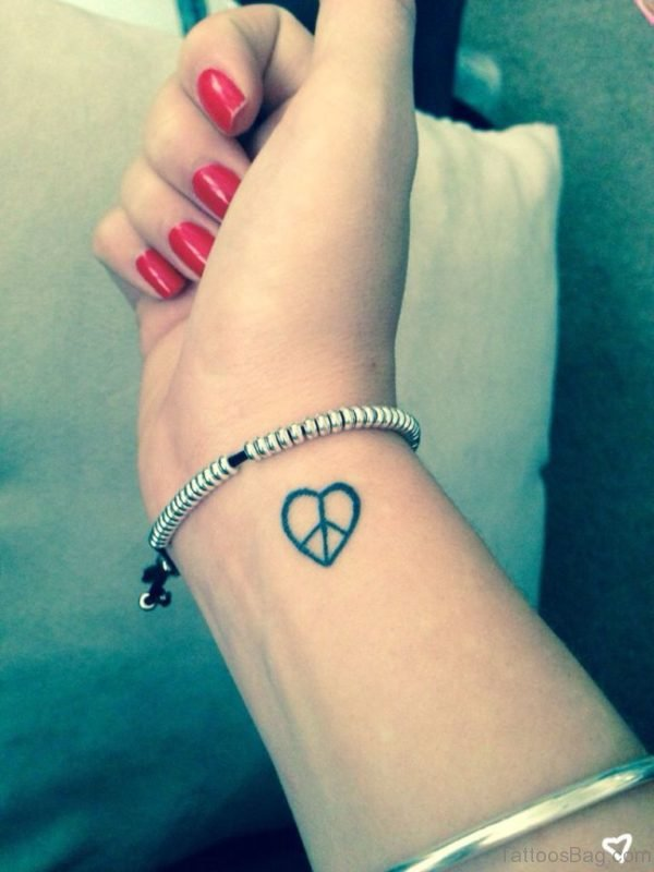 Peace Heart Tattoo On Wrist