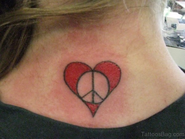 Peace Symbol And Red Heart Tattoo