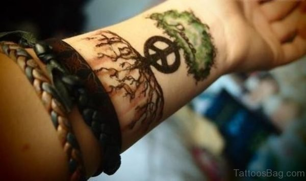 Peace Tree Tattoo On Wrist