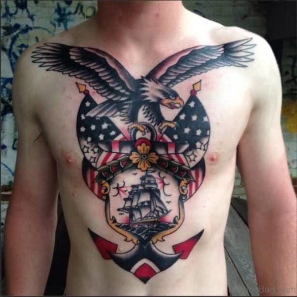 Perfect Anchor And Eagle Tattoo For Chest