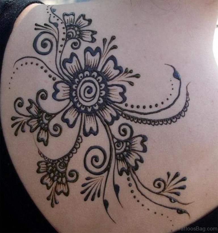 45 lovely henna tattoo on shoulder for Henna tattoo permanent