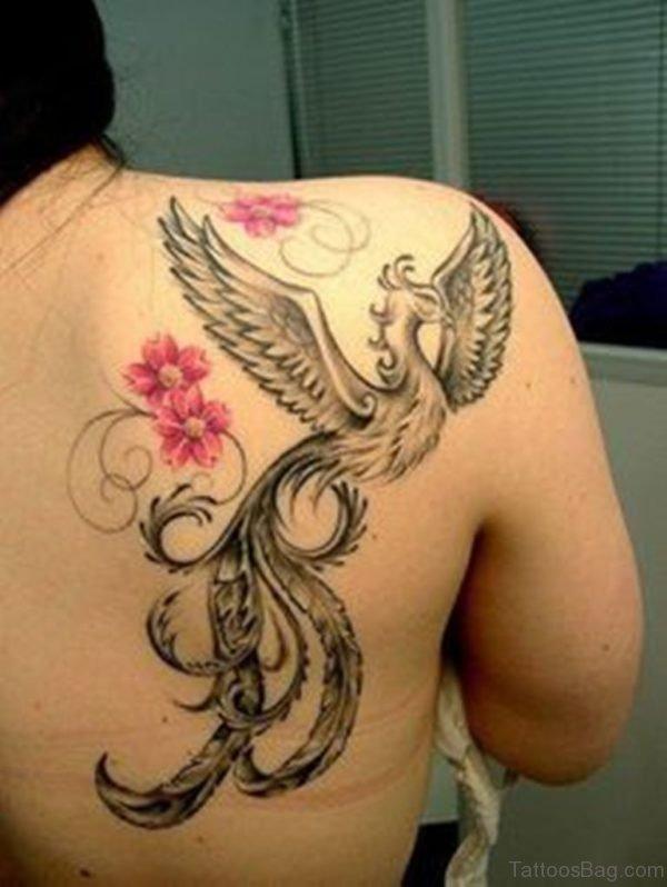 Phoenix And Lotus Flower Tattoo