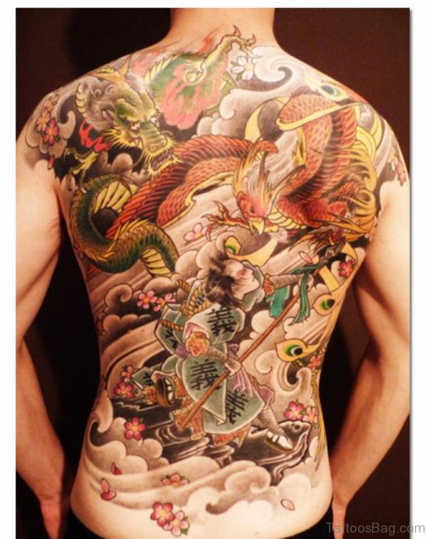 Phoenix Bird Tattoo On Back