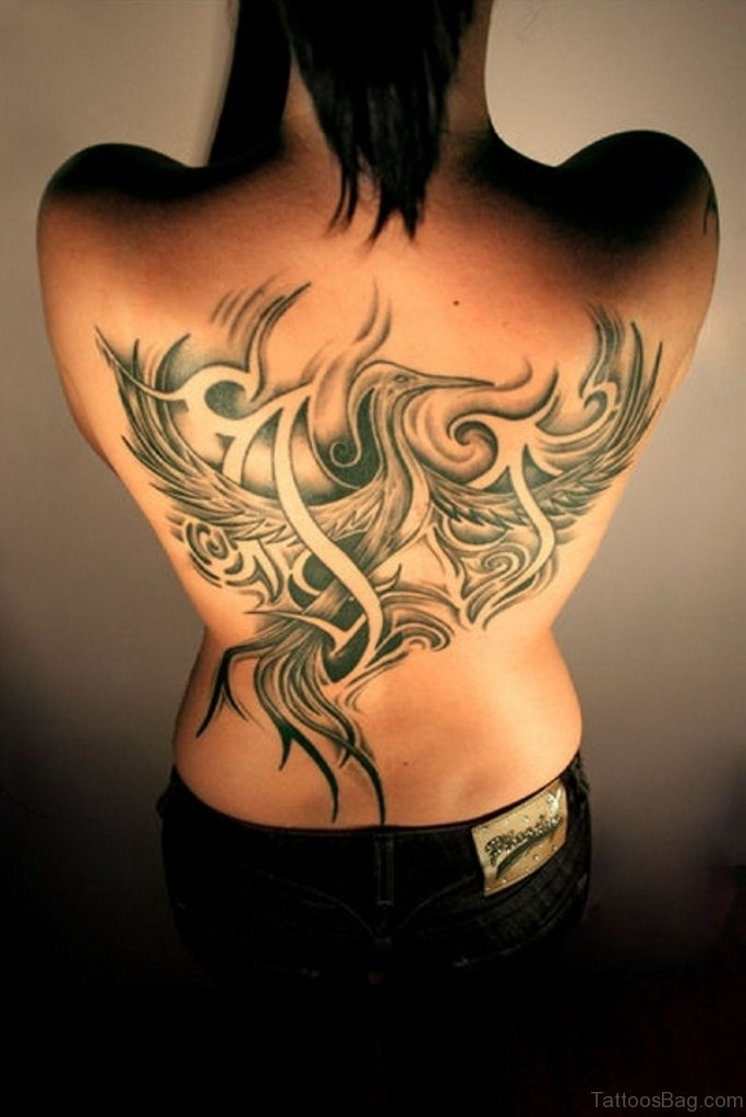60 amiable back tattoos for women for Phoenix tattoo on back