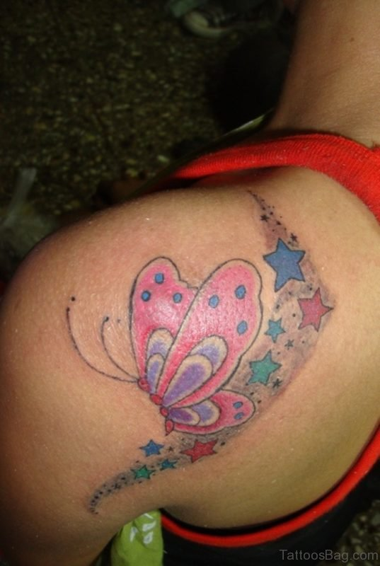 Pink Butterfly Ans Star Tattoo