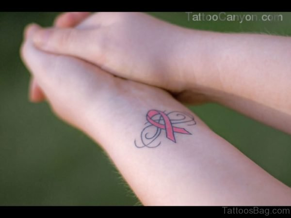 Pink Cancer Ribbon Wrist Tattoo