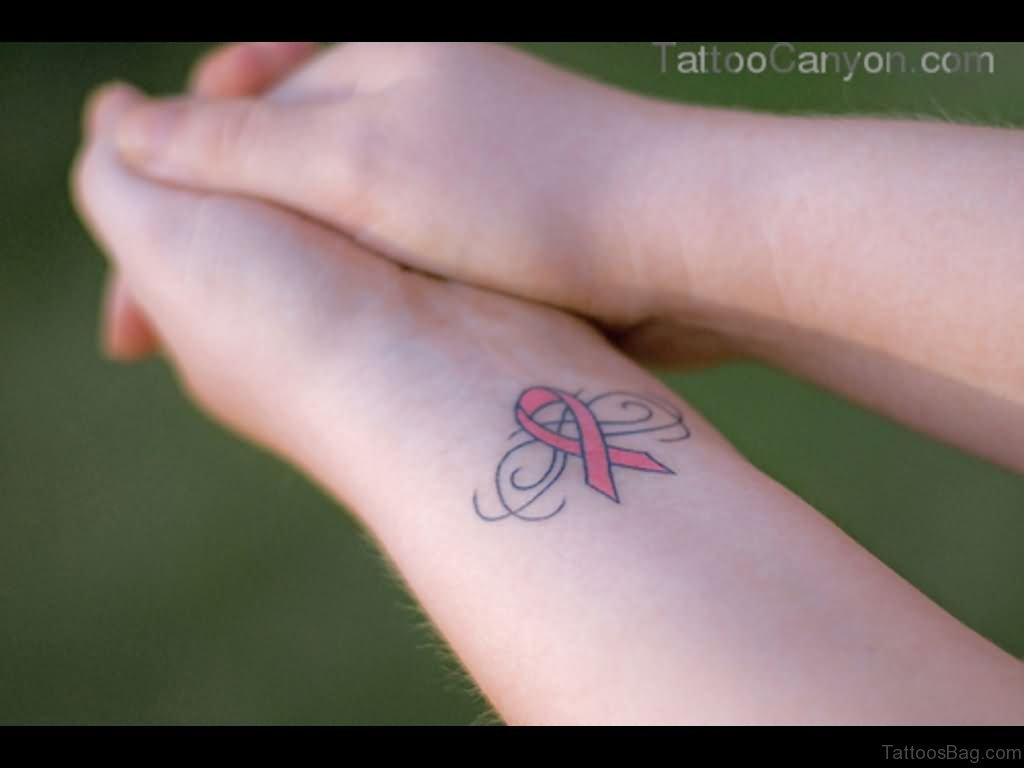 32 pretty cancer ribbon tattoos on wrist. Black Bedroom Furniture Sets. Home Design Ideas