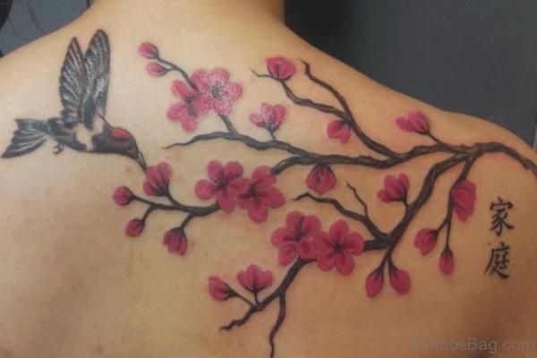 Pink Cherry Blossom And Bird Tattoo