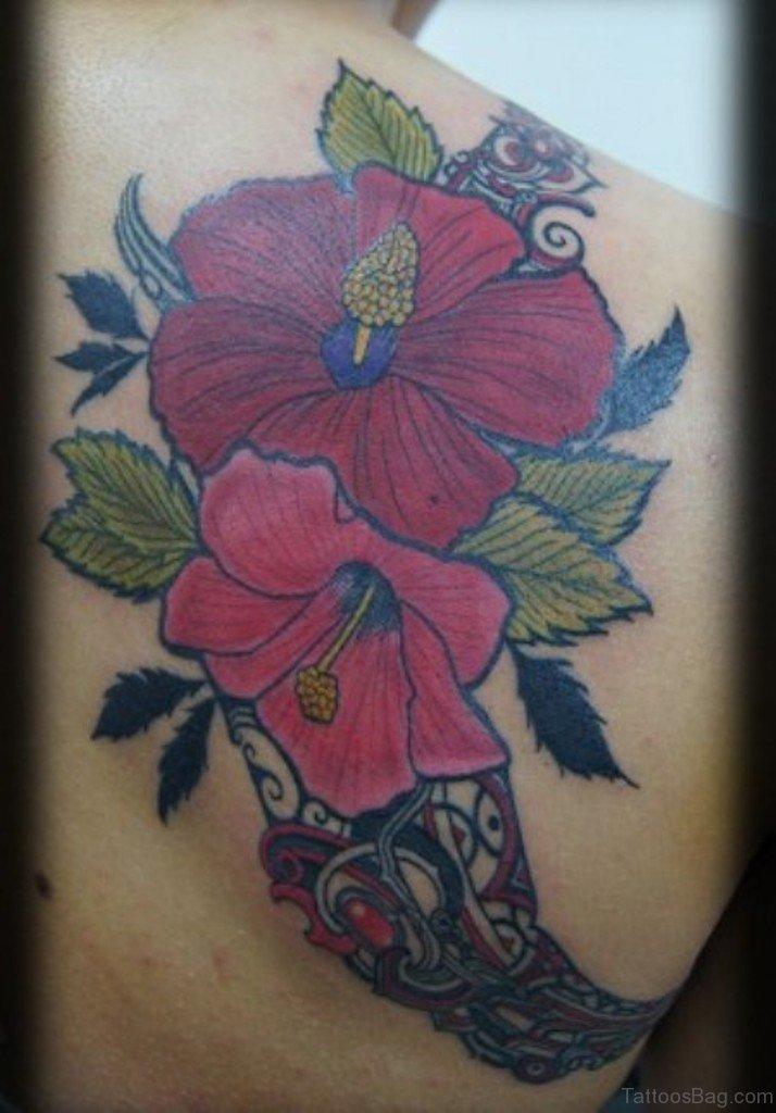 43 hibiscus shoulder tattoo designs. Black Bedroom Furniture Sets. Home Design Ideas