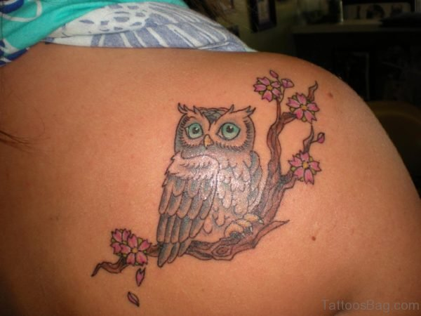 Pink Flower And Owl Tattoo