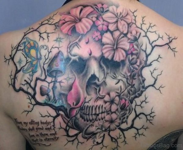 Pink Flower And Skull Tattoo