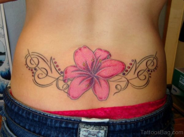 Pink Flower Tattoo On Lower Back