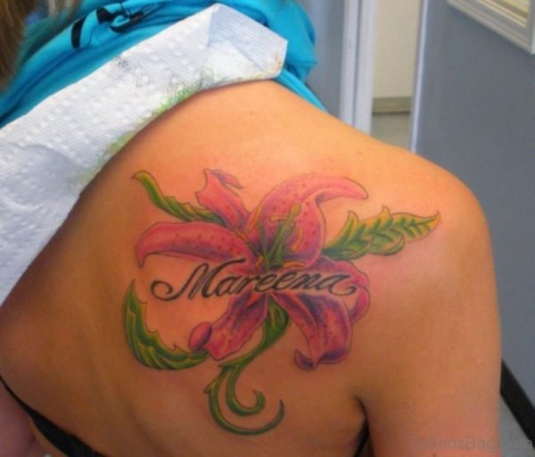 Pink Hibiscus Tattoo On Shoulder