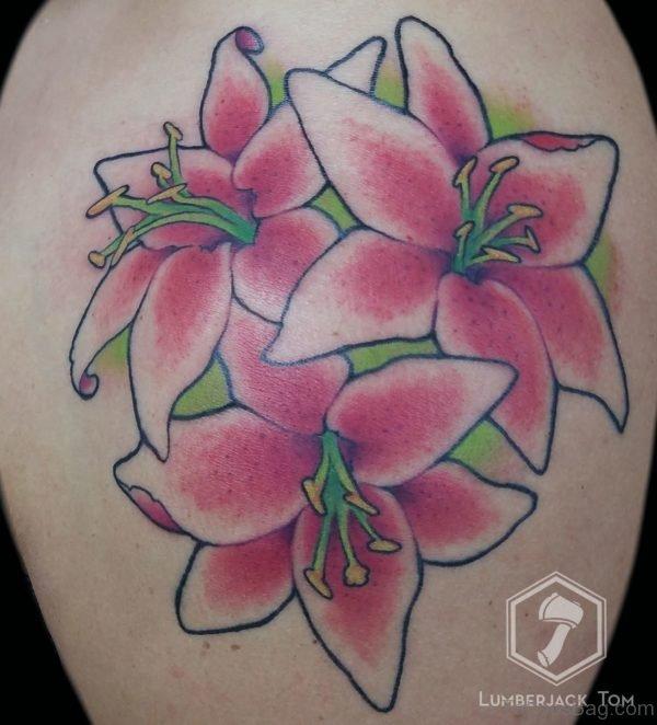 Pink Lily Print Tattoo