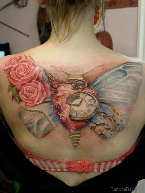 Pink Rose And Clock Tattoo On Back