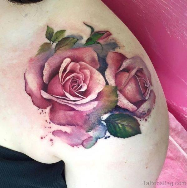 Pink Rose Tattoo Design