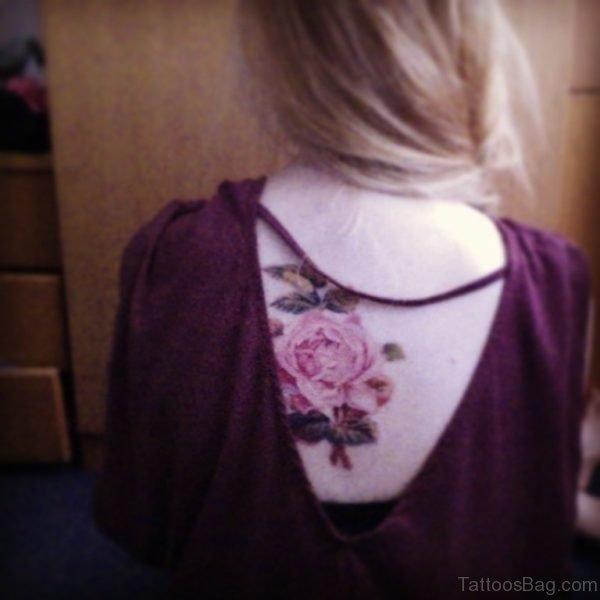 Pink Rose Tattoo On Back
