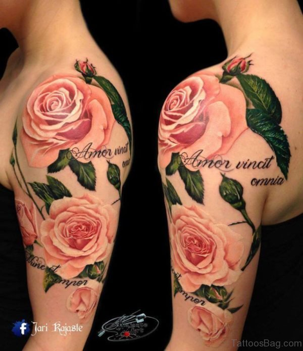 Pink Vintage Flower Tattoo