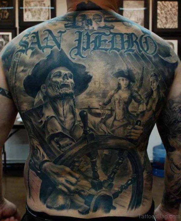 Pirate Horror Tattoo On Full Back