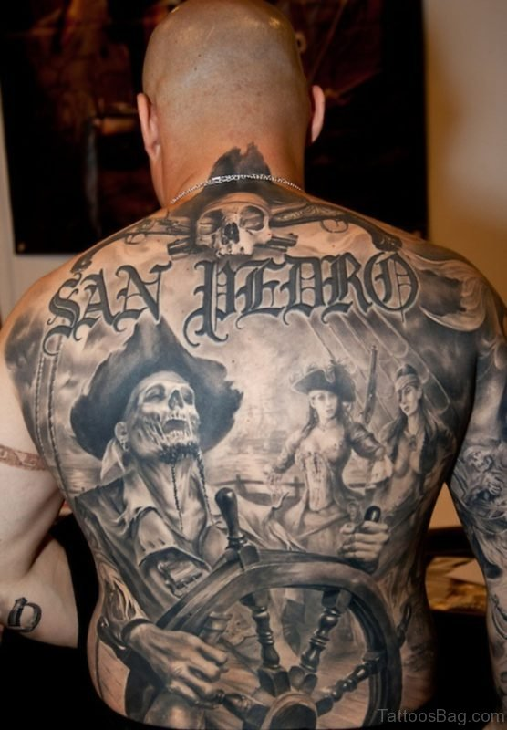 Pirate Tattoo On Full Back