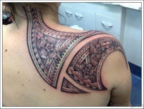 Polynesian Tribal Tattoo On Back