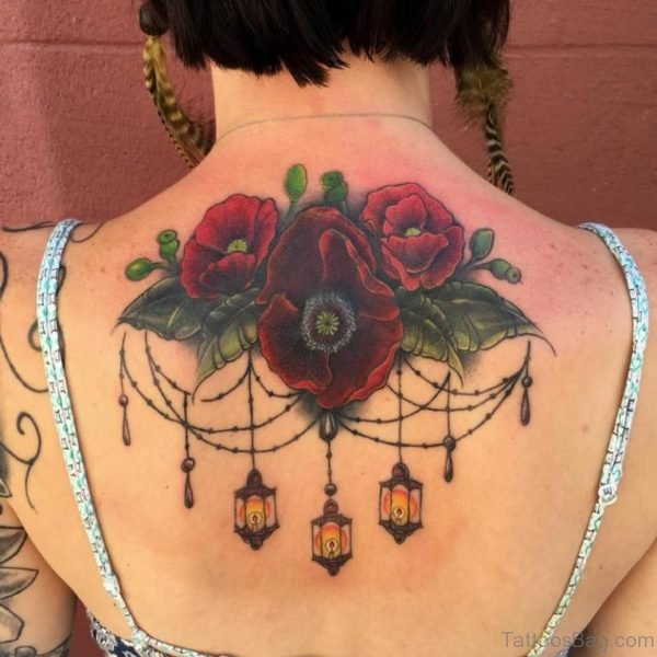 Poppies Tattoo On Upper Back