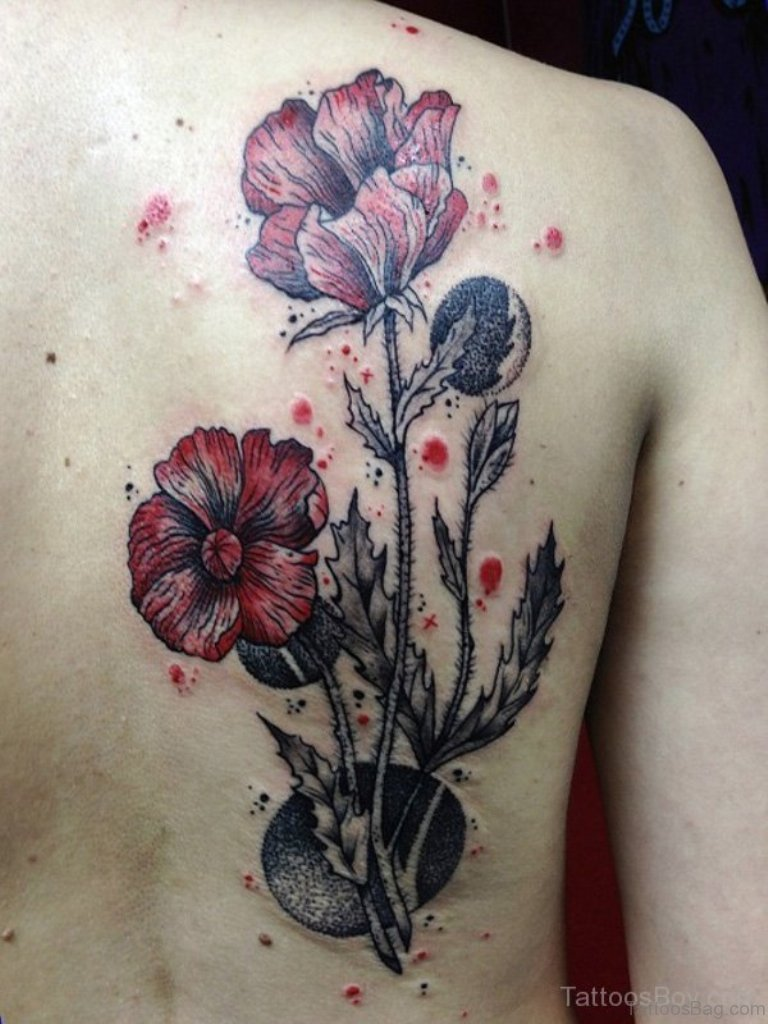 60 well formed poppy tattoos on back for Back tattoo flower designs