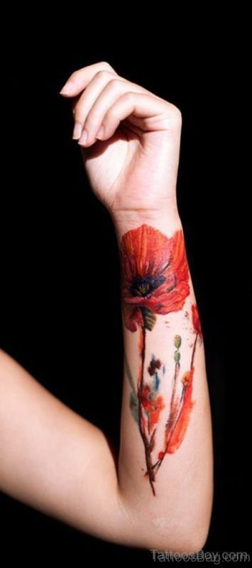 Poppy Flower Tattoo On Wrist