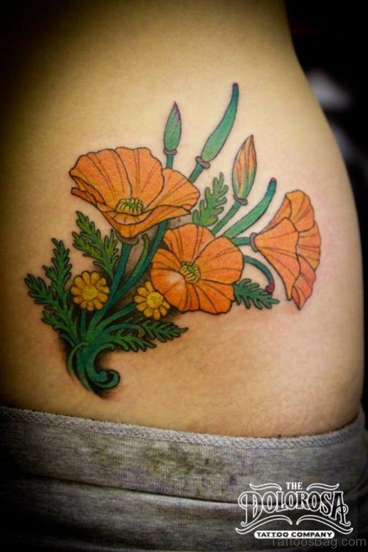 Poppy Tattoo Design On Lower Back