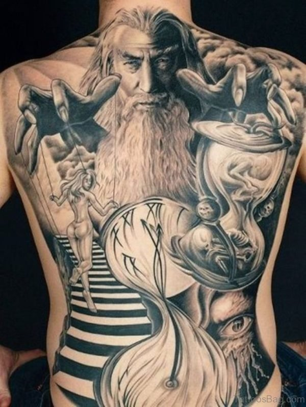 Portrait And Sand Clock Tattoo On Back