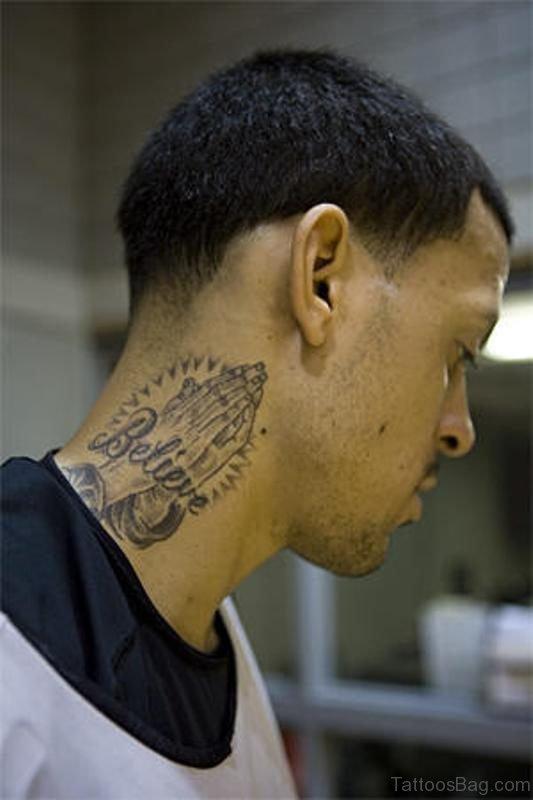 Praying Hand Tattoo On Neck