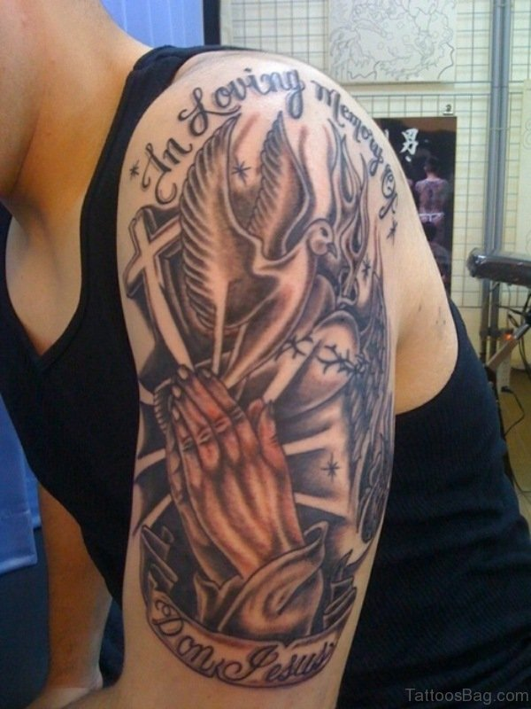 Praying Hands Shoulder Tattoo For Men