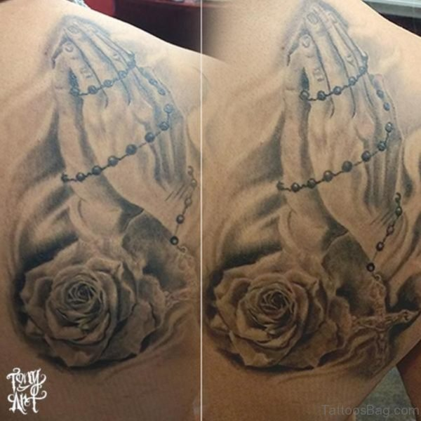 Praying Hands With Grey Rose Tattoo