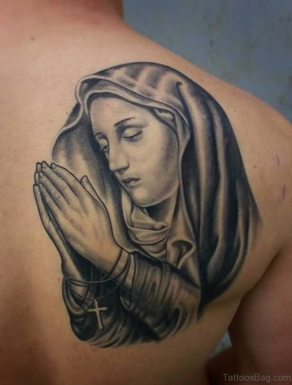 Praying Mary Shoulder Tattoo