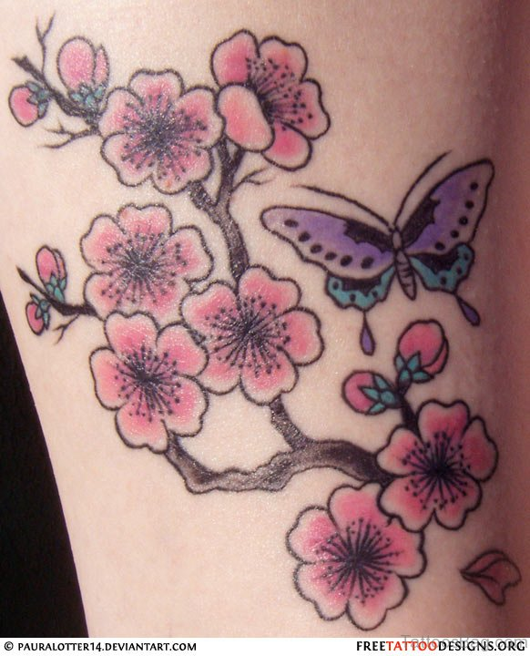 Pretty Butterfly And Cherry Blossom Tattoo