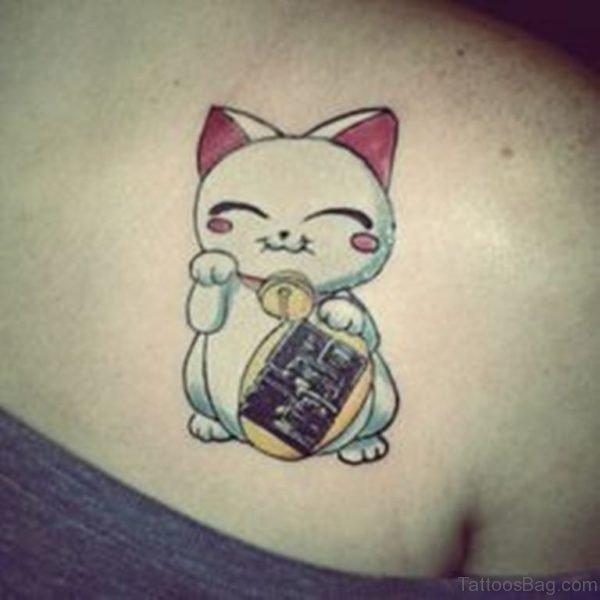 Pretty Cat Tattoo On Back