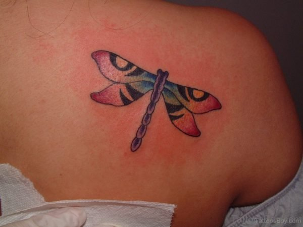 Pretty Dragonfly Tattoo On Back