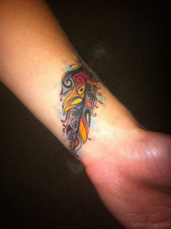 Pretty Feather Tattoo On Wrist