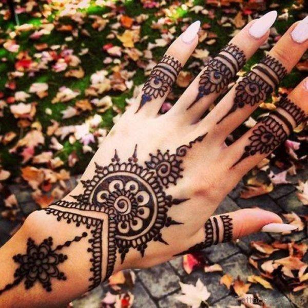 Pretty Henna Flower Tattoo
