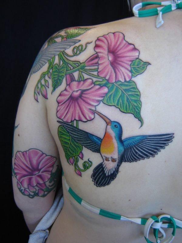 Pretty Hummingbird Tattoo On Back