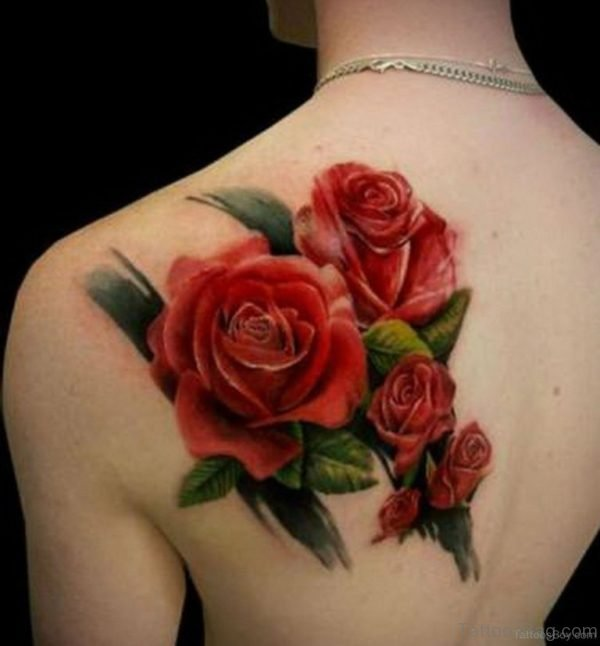 Pretty Rose Flower Tattoo On Back