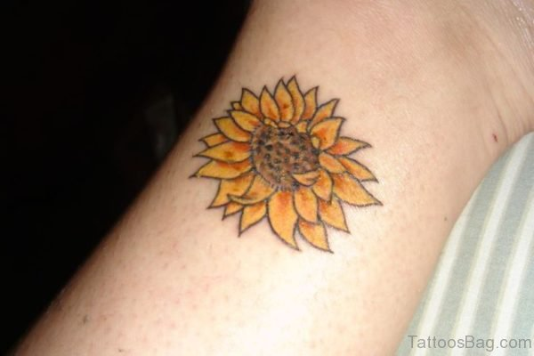 Pretty Sunflower Tattoo On Wrist