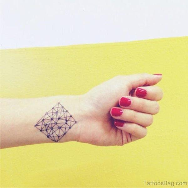Prism Shaped Geometric Tattoo On Wrist